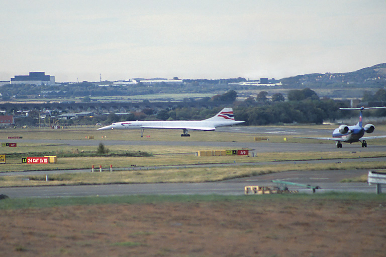 Concorde taxies after landing at Edinburgh Airport.