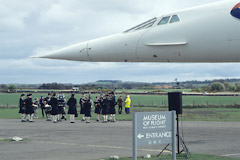 The Haddington Pipe Band welcomes Concorde to the Museum of Flight.