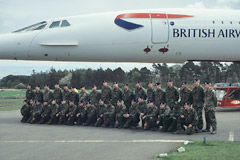 The Royal Engineers take a bow, after helping Concorde on the final stage of its journey to the Museum of Flight.